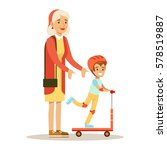 grandmother teaching boy to... | Shutterstock .eps vector #578519887