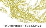 detailed vector map of honolulu ... | Shutterstock .eps vector #578523421