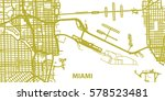 detailed vector map of miami in ... | Shutterstock .eps vector #578523481
