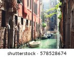 scenic canal with ancient... | Shutterstock . vector #578528674