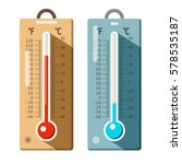 Thermometers Icons Set. Summer...