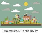 eco village with plant or... | Shutterstock .eps vector #578540749