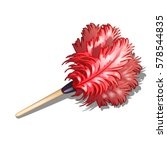 Fluffy Red Duster Brush With...