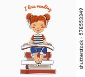cute  funny girl reads a book... | Shutterstock .eps vector #578553349
