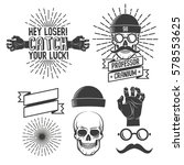 hipster logos with skull in... | Shutterstock .eps vector #578553625