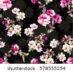 Stock vector pattern with spring flowers pattern with spring flowers with branch on black background with 578555254