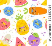 Vector Cartoon Fruits In...