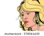 blond girl in retro style comic ... | Shutterstock .eps vector #578561635