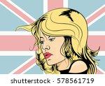 blond girl in retro style comic ... | Shutterstock .eps vector #578561719