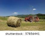 Circular Hay Baler And Red...