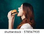 woman in profile greasy...   Shutterstock . vector #578567935