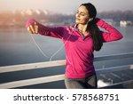 female runner taking selfie | Shutterstock . vector #578568751
