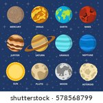 planet icon set. planets with... | Shutterstock .eps vector #578568799