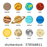 planet icon set. planets with...