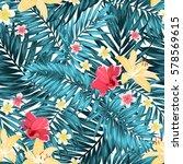 seamless tropical jungle palm... | Shutterstock .eps vector #578569615