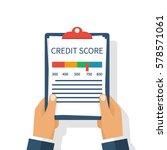 credit score  gauge. holding... | Shutterstock .eps vector #578571061