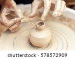 women hands. potter at work....   Shutterstock . vector #578572909