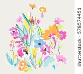 funky hand drawn mix of flowers ... | Shutterstock .eps vector #578574451