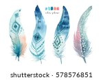 hand drawn watercolor paintings ... | Shutterstock . vector #578576851