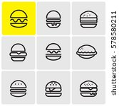 burgers line icons | Shutterstock .eps vector #578580211