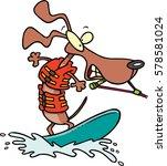 Cartoon Dog Water Skiing