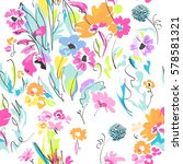 colorful sketch of flower mix   ... | Shutterstock .eps vector #578581321
