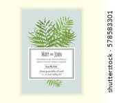 greenery wedding invitation... | Shutterstock .eps vector #578583301