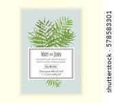 greenery wedding invitation... | Shutterstock .eps vector #578583301