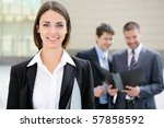 beautiful businesswoman on the... | Shutterstock . vector #57858592