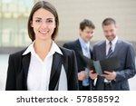 beautiful businesswoman on the... | Shutterstock . vector #57858592