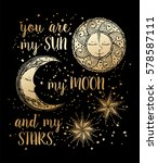 hand drawn sun  moon and stars... | Shutterstock .eps vector #578587111