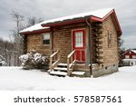 Small Log Cabin On Snowy Winter ...