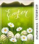 happy easter card with eggs ... | Shutterstock .eps vector #578589109