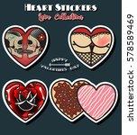 vector heart stickers vintage... | Shutterstock .eps vector #578589469