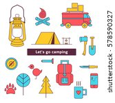 camping icon set. tourist... | Shutterstock .eps vector #578590327