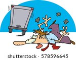 cartoon man run over by truck | Shutterstock .eps vector #578596645