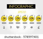 yellow linear infographic set... | Shutterstock .eps vector #578597401