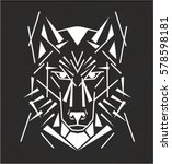 tribal wolf tatoo | Shutterstock .eps vector #578598181