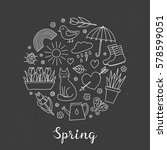 hand drawn outline spring items ... | Shutterstock .eps vector #578599051