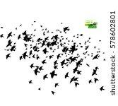 Stock vector flock of birds silhouette vector 578602801