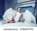 beautiful young model wearing a ... | Shutterstock . vector #578605795