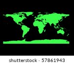 flat world map in black and green - stock photo
