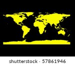 flat world map in black and yellow - stock photo