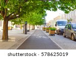 picturesque bicycle lane under... | Shutterstock . vector #578625019