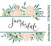 save the date hand lettering... | Shutterstock .eps vector #578636341