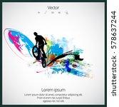silhouette of bmx rider | Shutterstock .eps vector #578637244