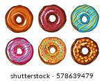 decorative hand drawn donuts... | Shutterstock .eps vector #578639479