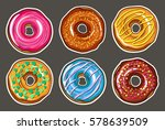 decorative hand drawn donuts... | Shutterstock .eps vector #578639509