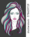 beautiful girl face with long... | Shutterstock .eps vector #578639719