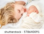 newborn baby and sister at home ... | Shutterstock . vector #578640091